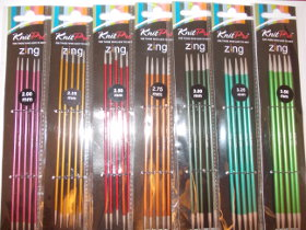 ..KNITPRO ZING DOUBLE POINTED 15cm 2-4mm