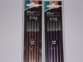 ..KNITPRO ZING DOUBLE POINTED 20cm 5.5-6mm